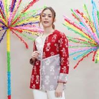 NONA RARA - Miska Betawi T0904, Baju atasan kerja blouse batik wanita - M
