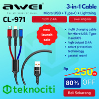AWEI 3-in-1 Multi Charging Cable Micro USB Type-C iOS 2.4A High Speed