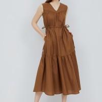 ARAMI V-neck Maxi Dress - Mocca