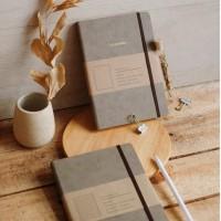 Mason Notebook Taupe Brown + custom nama / Buku Catatan Hadiah Unik
