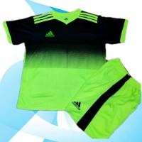 Baju olahraga / Kaos Bola Anak / Setelan Futsal Hitam hijau SD - SMP
