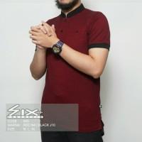 kaos polo shirt pria/kaos krah sanghai terlaris,kaos six warna maroon - Multiwarna, M