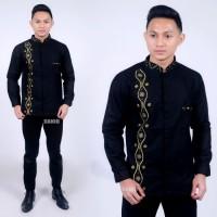 Baju Koko Batik Kombinasi Bordir Pria Dewasa Lengan Panjang - Hitam, M