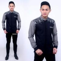 Baju Koko Kemeja Batik Hem bordir Pria Panjang Kombinasi