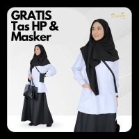 Baju Gamis Wanita Premium Gamis Kerja Syari Busui Kerah Hitam Putih - S