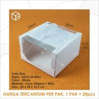 Box Mika Kotak Kue Cake Packaging Transparan Dus Handle | 42012 White