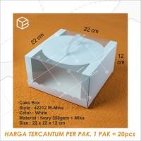 Box Kue Mika Kotak Cake Packaging Transparan Dus Handle | 42212 White