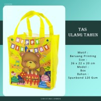 Goodie Bag Spunbond/ Tas Ulang Tahun Jahit 26 x 22 Animal Beruang