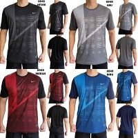 Kaos Trening Pria 6949 Baju Olahraga Fitness Running Badminton Cowok - hitam, l