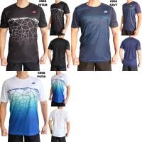 Kaos Olah Raga Pria Import 6968 Baju Badminton Bulu Tangkis Cowok Gym