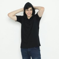 Tshirt Baju Kaos Polos Hoodie Lengan Pendek hitam Cotton Combed 24s