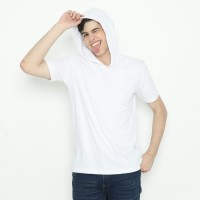 Tshirt Baju Kaos Polos Hoodie Lengan Pendek Putih Cotton Combed 24s