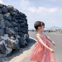 Stripe Orange Dress/Dress Anak Perempuan/Terusan Anak/ Baju Jalan Anak