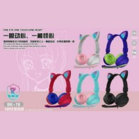Headphone Bando Cat BK-78 / Headset Bando Ear Cat LED BK-78 - Biru Tua