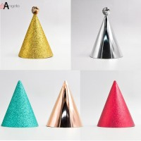 5pcs Topi Ulang Tahun Anak / Dewasa Aksen Glitter Untuk Dekorasi