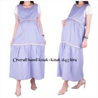 Baju Hamil Overall Kotak - Kotak ( No Inner ) 1845 - biru muda, allsize