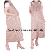 Baju Hamil Overall Hamil Kotak-Kotak 1846 - coklat, allsize