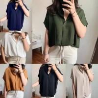 Safro top blouse kemeja wanita model Batwing bahan twiscone size fit L
