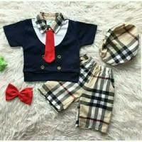 Baju anak bayi laki laki setelan rompi pesta kondangan golf set 2 dasi - Merah