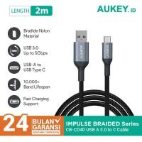 Aukey Cable CB-CD40 2m Braided Nylon USB 3.0 to Type C Grey - 500427