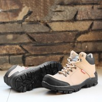 Sepatu Pria Safety Ujung Besi Nike Amzon Cream Boots Keren Sintetis