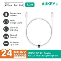 Kabel Charger Iphone Aukey CB-CL1 Mfi USB C to Lightning 1.2m White