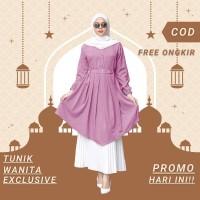 Baju Atasan Tunik Wanita Jumbo Kekinian Remaja Dress Muslim Premium - Ungu