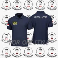 Kaos Polo Poloshirt Turn Back Crime Polisi - poloshirt POLICE - Hitam, L