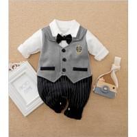 Jumper bayi motif tuxedo grey 0-2 tahun / baju bayi import jumper bayi - 80 (9-12 BULAN)