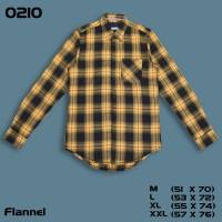 Baju Kemeja Flanel Flannel Pria Cowok Lengan Panjang Kuning Hitam 0210 - 0210 Size M