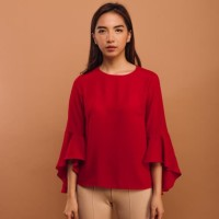 KORZ Waterfall Sleeve Blouse Red