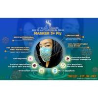 Masker Stylish Armor Silver Antimicrobial 3ply net Earloop n Headloop
