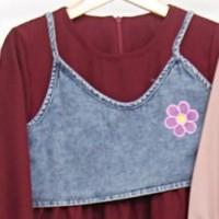( 7 - 14 TAHUN ) BAJU DRESS TUNIK FASHION ANAK PEREMPUAN ZR515 - MAROON, UK 10, 7-8thn