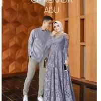 Baju Couple Brukat Sarimbit Kemeja Panjang Gamis Brokat Pesta Sepasang - Abu-abu
