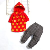 Motif Emoticon Hoodie / Setelan Baju Bayi laki 6 bulan - 2,5 tahun - Merah, 1