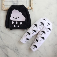 Motif Awan / Setelan Baju Bayi /Anak Laki-laki Usia 6 Bulan - 3 Tahun - Hitam, 2