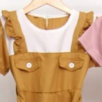 ( 3 - 10 TAHUN ) BAJU DRESS TUNIK FASHION ANAK PEREMPUAN ZR531 GE - KUNING, Uk 4, 3-4thn