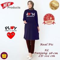Baju Atasan Muslim Tunik Wanita Motif PLY Lucu TERMURAH TERLARIS - Navy, XL