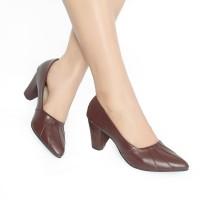Sepatu Heels Formal Formil kantor Hak Runcing casual Nyaman Wanita - Coklat, 37
