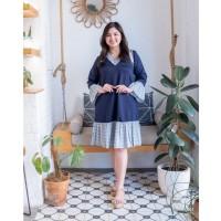 ISUKA FASHION dres wanita jumbo pakaian wanita Jizzy Dress - navy