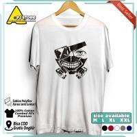 Anime T-Shirt Tokyo Ghoul Kaos Distro Pria Anime Cowok Lengan Pendek - Putih, XXL