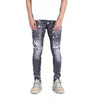 A1 Distressed Light Grey Splatter of Blue - Celana Jeans