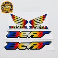 emblem timbul 3d logo HONDA BEAT SAYAP WINGS thailand twotone karbon