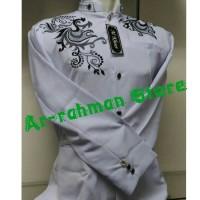 Jasko Putih Bordir Merak (Baju Koko Pria, Kemeja Koko)