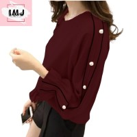 Baju atasan wanita RAISA blouse korean style lengan panjang import - MARON, BEST SELLER