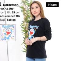 Baju Kaos Wanita Cewek Lengan Panjang Wanita Cewek Murah Doraemon - Hitam