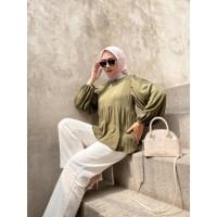 Pakaian model Cloudy blouse top wanita lengan panjang bahan twiscone