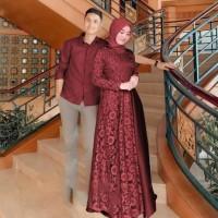 Baju Couple Gamis Brokat dan Kemeja Pria / Baju Couple Muslim - Merah