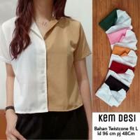 Hanabi - Baju Atasan Wanita Kemeja Desi Bahan Twistcone Warna Putih