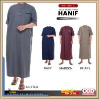 Baju Jubah Gamis Pria Muslim Laki Dewasa Lengan Pendek Hanif Premium